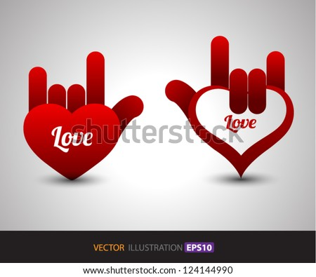 Hand Love vector / for love / valentine's day / concept for gift card / about love. / wedding
