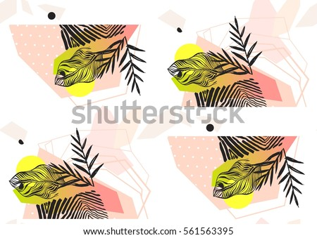 Hand made abstract summer exotic jungle plant tropical palm leaves seamless pattern isolated on white background. Tribal unusual print with wild zebra motif.Nature wallpaper.Boho painted style.