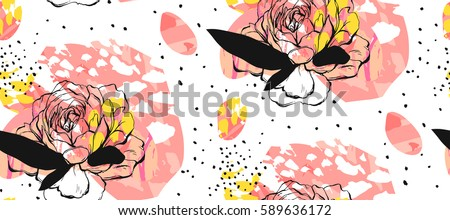 Hand made abstract textured trendy creative collage seamless pattern with floral motif isolated on white background with different textures and shapes.Modern graphic design.Unusual artwork.Spring art