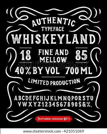 Hand Made Display Typeface 'Whiskeyland'. Vintage Custom Alphabet. Original Letters and Numbers. Retro hand drawn type design. Vector illustration. Textured Version 1.