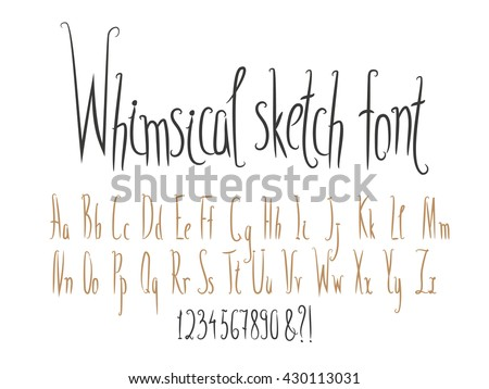 Hand made english alphabet collection. Narrow letters, whimsical style. Vector set, letters in upper and lower case, numbers, symbols, sighs.