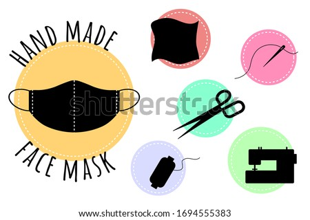 Hand made medical face mask.Sew the mask yourself.Items that are needed for sewing a protective face mask yourself.Needle and thread, spool of thread, fabric, sewing machine, scissors.Vector
