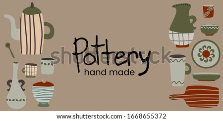 hand made pottery vector