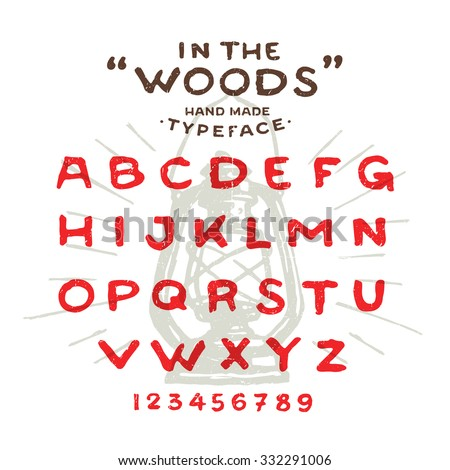 Hand Made rustic typeface 'In The Woods' Custom handwritten alphabet. Hand drawn Letters and Numbers. Vintage retro textured font grunge effect. Background Lantern Vector illustration with sun rays.