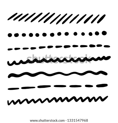 Hand made set of underline strokes. Vector strokes borders dividers in grunge marker style.