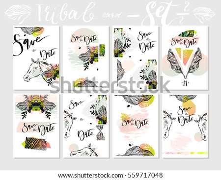 Hand made vector abstract graphic Save the Date tribal tropical exotic Valentines day cards set collection in pastel colors isolated on white background.Unusual cards for Business,holidays,decoration