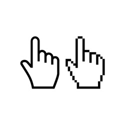 Hand mouse cursor icon. Pointer hand cursor icons, pixelated vector hand cursor symbol.