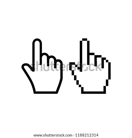 Hand mouse cursor icon. Pointer hand cursor icons, pixelated vector hand cursor symbol.