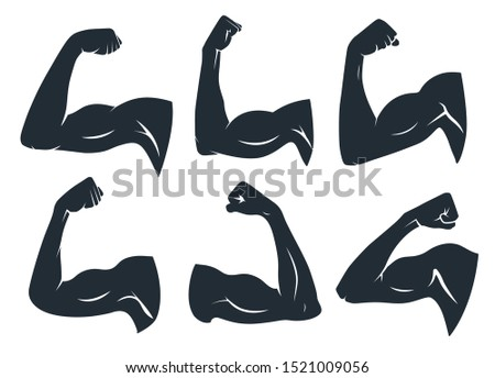 Hand muscle silhouette. Strong arm muscles, hard biceps and power gym. Armpits muscle fitness logo, body builder guy bicep or strength arms powers badge. Isolated vector stencil icons set