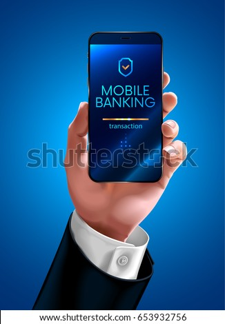 hand of a businessman in a business suit shows the screen of the smart phone or mobile phone. Transfer money through mobile banking on the mobile phone screen. Realistic vector illustration