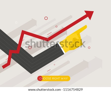 hand of a businessman points up, growth chart. forward to success. Finger pointing direction. Success, growth rates. Banner