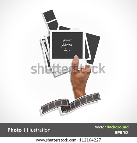 Hand of a person taking many types of photos. Vector design.