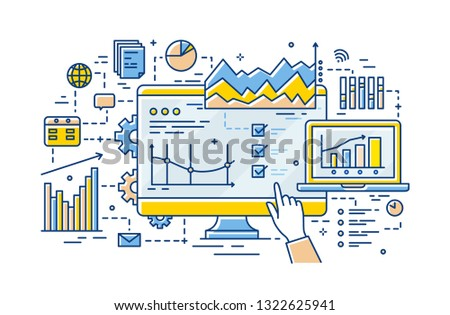 Hand of analyst pointing at computer display with results of statistical data analysis on it, diagrams, charts and graphs. Business analytics and statistics. Vector illustration in linear style.