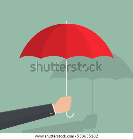 hand of business man hold umbrella.