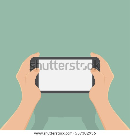 hand of business man use smart phone,flat design,vector business illustration
