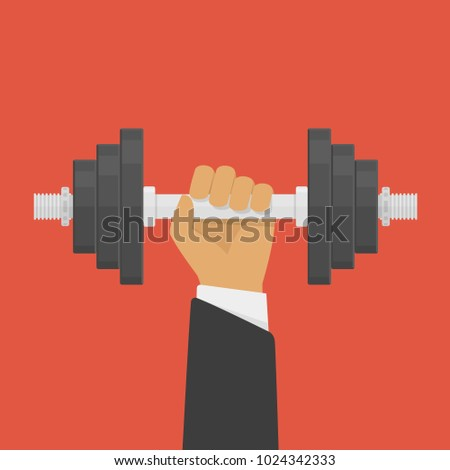 Hand of Businessman holding dumbbell. Dumbbell weight. Strength, power and success concept. Vector illustration in flat style. EPS 10.