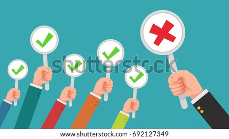 hand of businessman,many hands with correct mark but get one wrong mark feedback from the boss or customer - complaining to businessman concepts flat style vector illustration