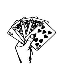 Hand Of Cards - Retro Clip Art