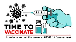 Hand of doctor or nurse in medical glove makes vaccine against coronavirus. Bottle and vial containing drug for COVID-19. Time to vaccinate poster or website landing page, vector