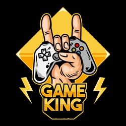 Hand of game king which keep modern gamepad joystick game controller for play video game and show rock sign. Clothes t-shirt design vector illustration with geek culture icon print apparel for gamer.