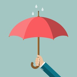 Hand of man holding an umbrella. Vector illustration
