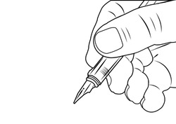 Hand of man writing on white background. Vector design.
