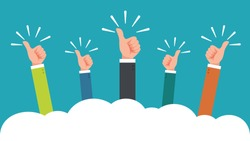 hand of many businessman with thumbs up feedback through the clouds vector illustration