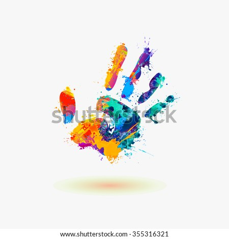 hand of paint stains rainbow