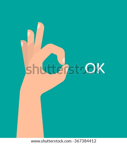 hand ok sign with text