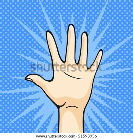 Hand on a blue background