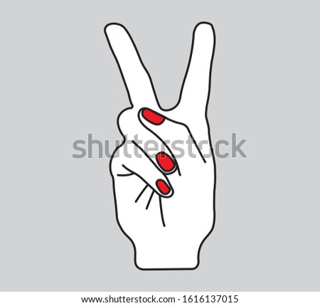 Hand Opens Two Fingers, Victory Symbol, Gesture Vector Design