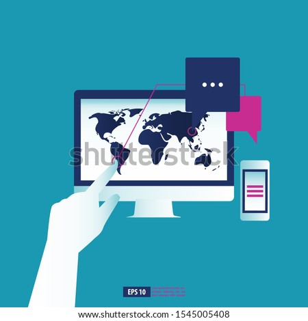 Hand operate the PC computer and smartphone for analyze business data worldwide. Business concept vector illustration