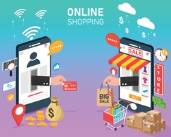 hand out shopping online on mobile. e commerce and digital marketing. vector illustration modern design. business and finance concept. phone front of shop store.