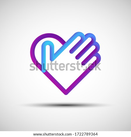 Hand over heart blended line icon. Vector illustration of liquid 3d abstract heart with hand icon, logo, sign or emblem over white background Сток-фото ©
