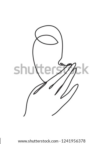 Hand over mouth silence icon. One line drawing