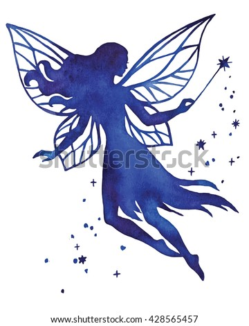 Hand paint fairy with magic wand, watercolor vector silhouette illustration