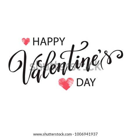 Hand paint vector heart silhouette in grunge style with hand written lettering Valentine`s Day, illustration for t-shirt design, greeting card, invitation. #1006941937
