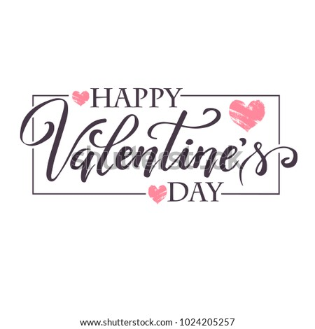 Hand paint vector heart silhouette in grunge style with hand written lettering Valentine`s Day, illustration for t-shirt design, greeting card, invitation. #1024205257
