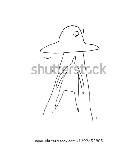 Hand paint vector outline man and UFOs. Space. Character people (Can be used as texture for cards, invitations, DIY projects, web sites)