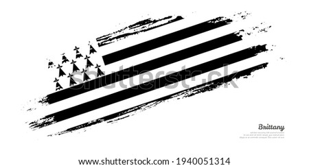 Hand painted brush flag of Brittany country with stylish flag on white background Foto stock ©