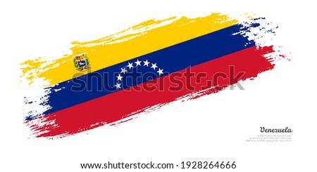 Hand painted brush flag of Venezuela country with stylish flag on white background Stockfoto ©