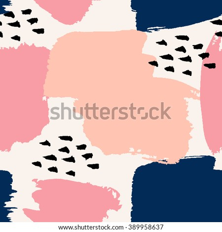 Hand painted brush strokes in navy blue, pastel pink and black on cream background. Seamless abstract repeating background.