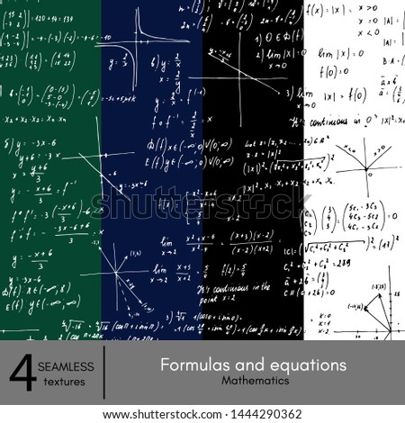 Hand-painted formulas and equations.  School blackboard. Mathematics solutions. Mathematics solutions. Seamless texture. Four seamless texture.