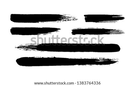 Hand painted ink brush strokes. Vector grunge brushes set.