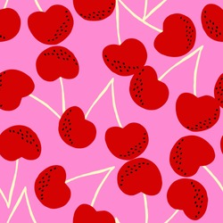 Hand painted seamless pattern with cherries in red, black and vanilla on pink background.