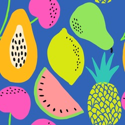 Hand painted seamless pattern with colorful fruits on blue background.