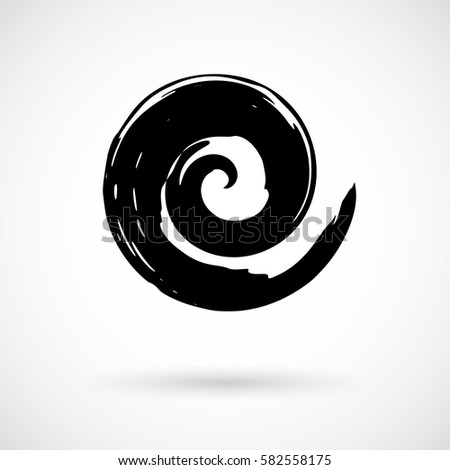 Hand Painted Swirl Symbol Handmade With Ink Brush Graphic Design