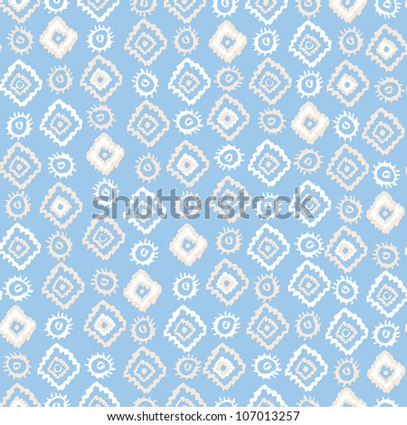 Hand painted textured elements abstract seamless pattern in ethnic style. Vector illustration.