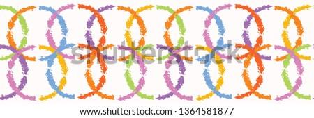 Hand painted textured interlocking circle stripes. Seamless geometric shapes border pattern. Rainbow vector illustration. Striped bright ribbon edge trim. Colorful kid home decor washi tape band.