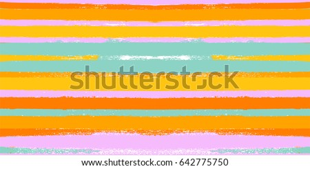 Hand painted vector digital ink brush strokes in green, turquoise, orange, pink and yellow. Trendy grungy fabric and textile print design, seamless summer pattern. Sailor stripes hipster background.